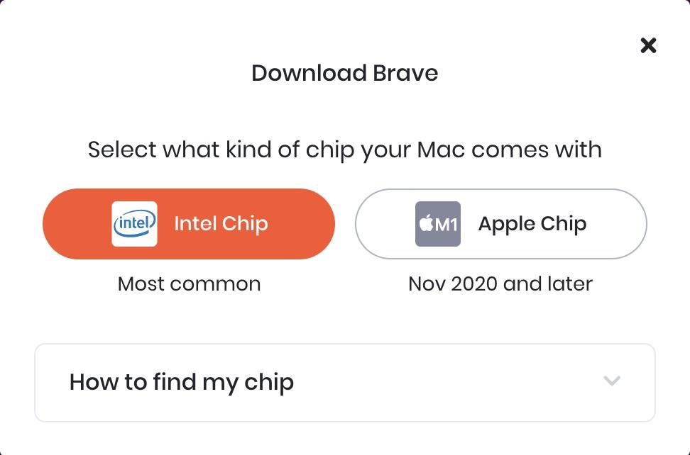 Brave 已原生支援 M1 Mac 。