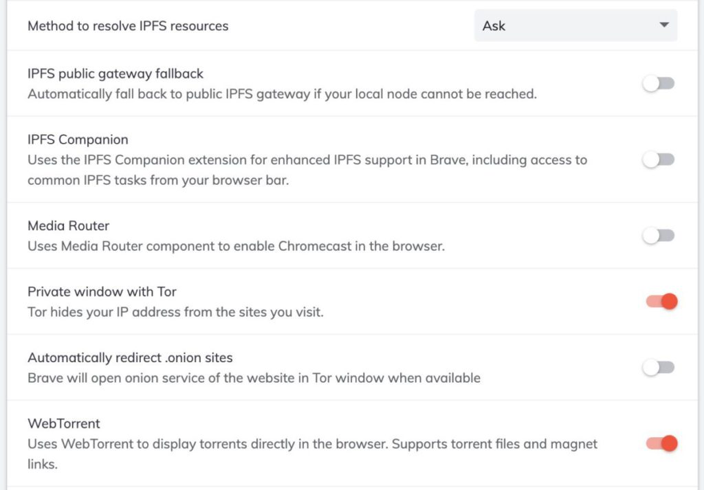 Brave 瀏覽器中有關 IPFS 的選項