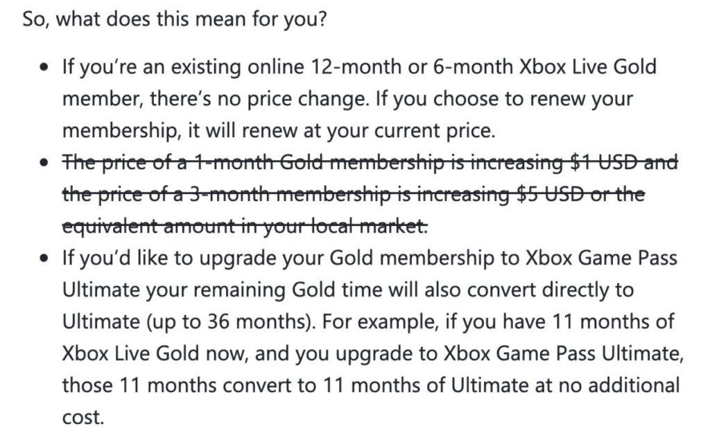 Xbox 將原本聲明中有關加價的一段劃去。