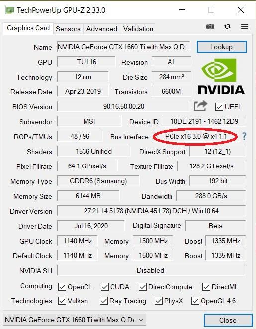 筆者早前測試的結果顯示, 11 代 Core 平台目前只有 PCI-E 4.0 x4 Bus 連接顯示卡,被排除在高階 Gaming 筆電市場之外。