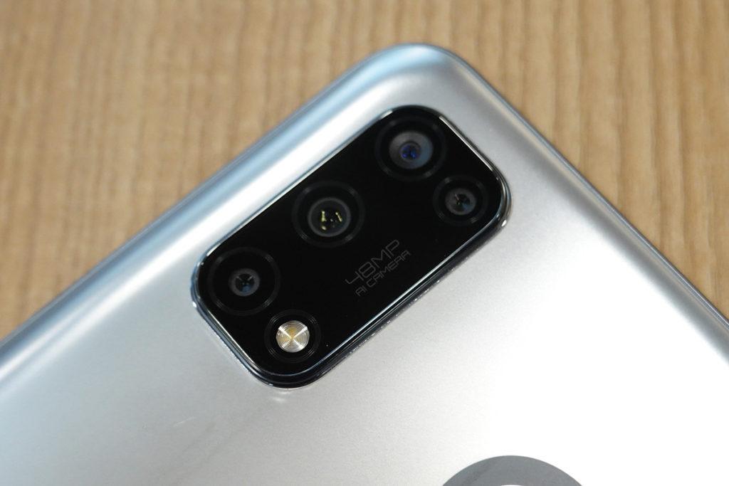 機背的四鏡頭為 48MP 主鏡、 8MP 超廣角鏡、 2MP 微距鏡及 2MP 黑白人像鏡組合。