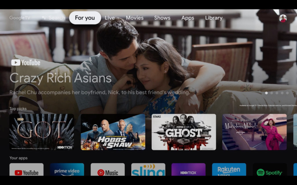Google TV 改以內宮作主導,不再以App Icon作選擇方向,配合以串流內容為主的使用方法。 Sony 是第一間 Google 以外使用 Google TV 的電視品牌。