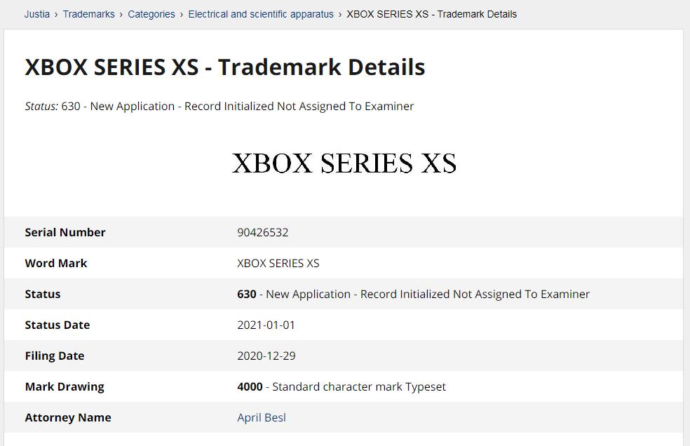 稱作「 Xbox Series XS 」的商標於去年 12 月 29 日時存檔,官方亦未為此解話。
