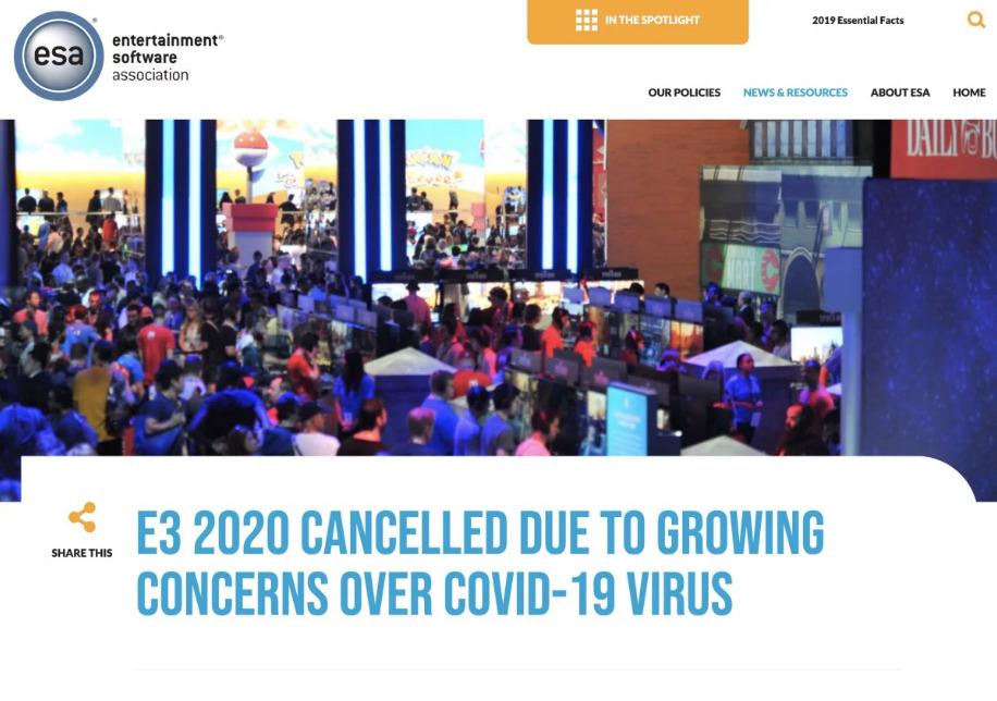 去年 E3 2020 因疫情問題需要取消。
