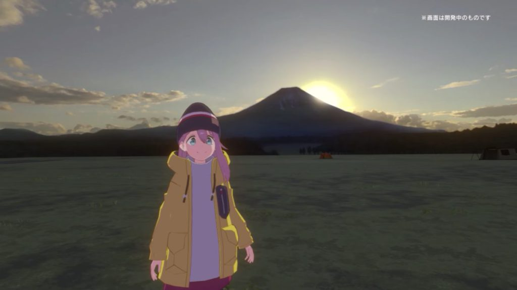 在遊戲裡與片主角色一起看富士山日出。