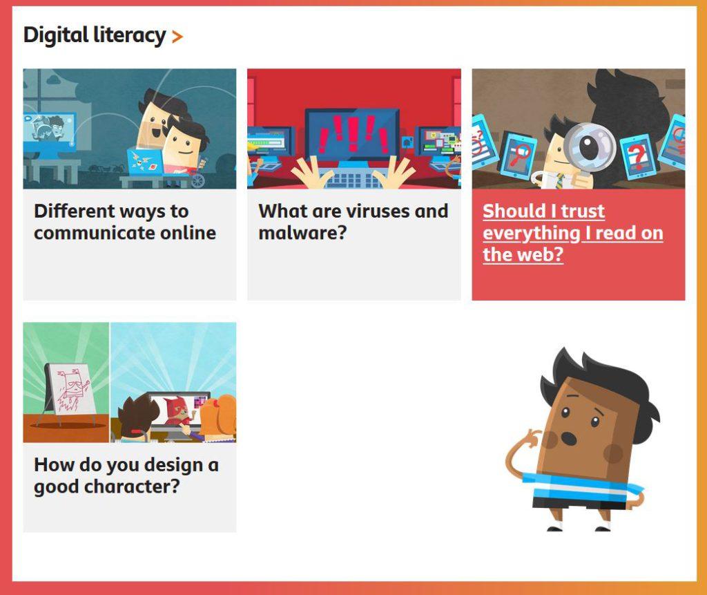 Digital literacy主題裡有圖文說明需要關注的題目。