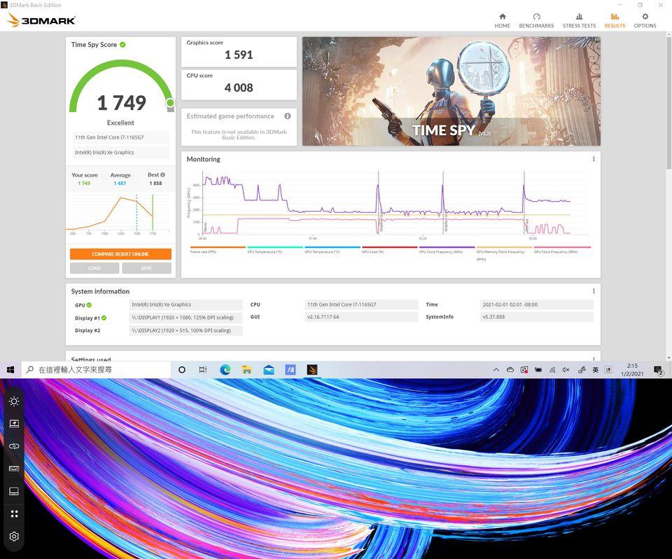 雖然測試的版本是使用Intel IRIS Xe圖 像顯示器,但圖像處理效能也很出色。