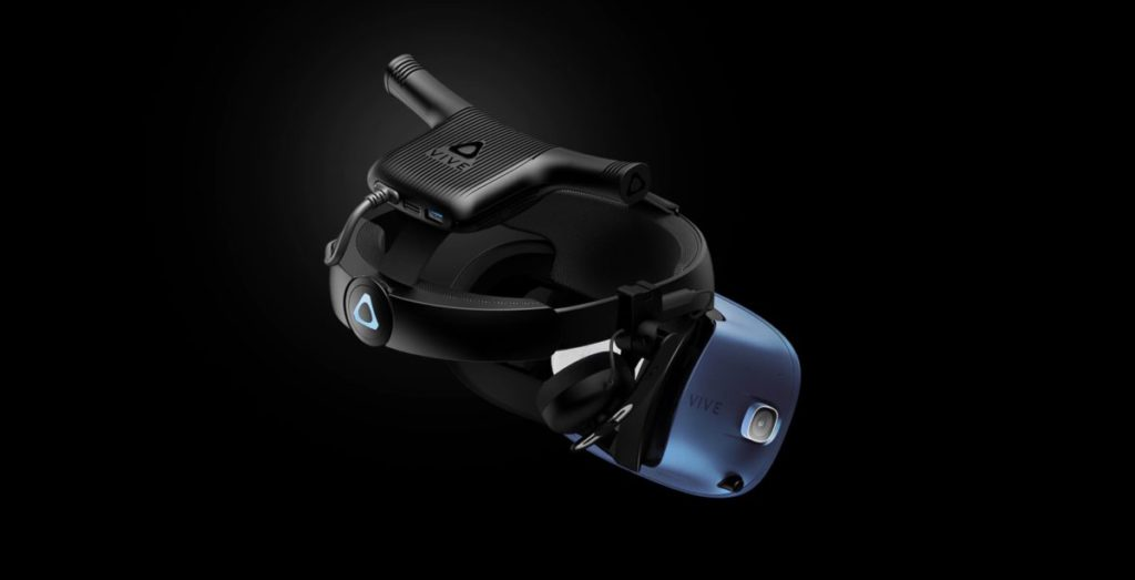 HTC Vive 可以配合另購的 Vive 無線模組與電腦聯繫,解除電線的束縛。