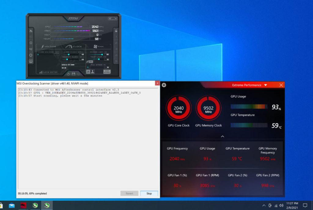 使用 OC Scanner 功能顯示可超至 GPU 2040MHz Boost Clock