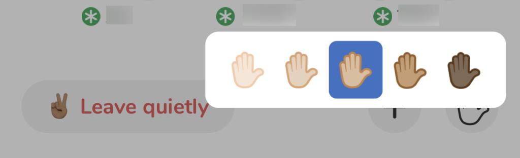 Clubhouse 程式裡還有個秘技,就是長按舉手掣的話,會彈出一個選單讓大家選擇手的膚色,是一個「政治正確」的功能。