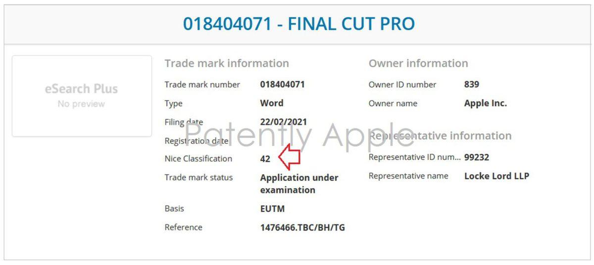 Apple 在歐洲更新 Final Cut Pro 註冊商標,加入與 SaaS 和 PaaS 有關的尼斯分類 42 (來源:Patently Apple)。