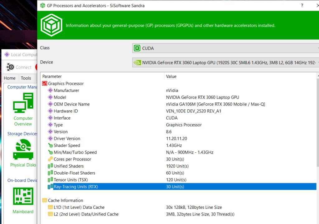 《 SiSoft Sandra 》顯示 RTX 3060 Laptop GPU 只有 30 個 RT Cores