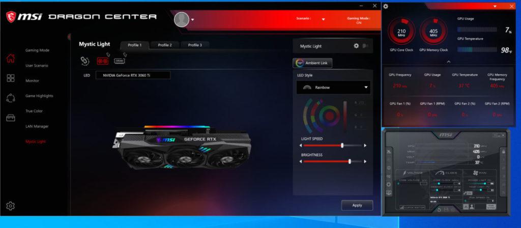 可在 Mystic Light 程式改變 RGB 燈效。