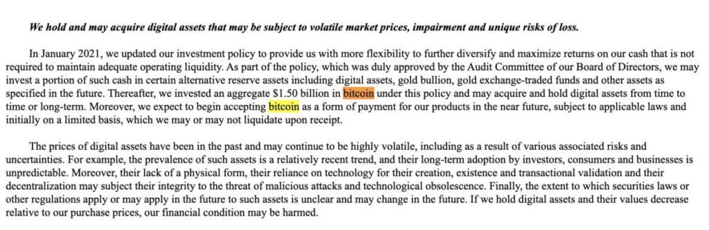 Tesla 在向美國證券交易委員會提交的周年報告揭露購入了時值 $15 億美元 Bitcoin,並打算長期持有數字資產。