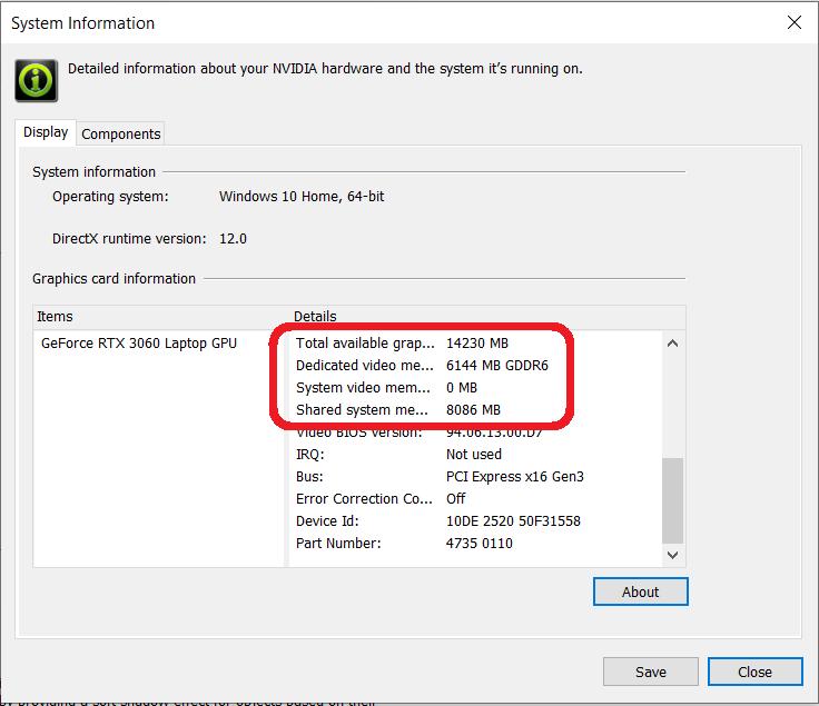 系統資料顯示, RTX 3060 Laptop GPU 會借用 8GB 系統記憶體,使總可用記憶體達到 14GB 。