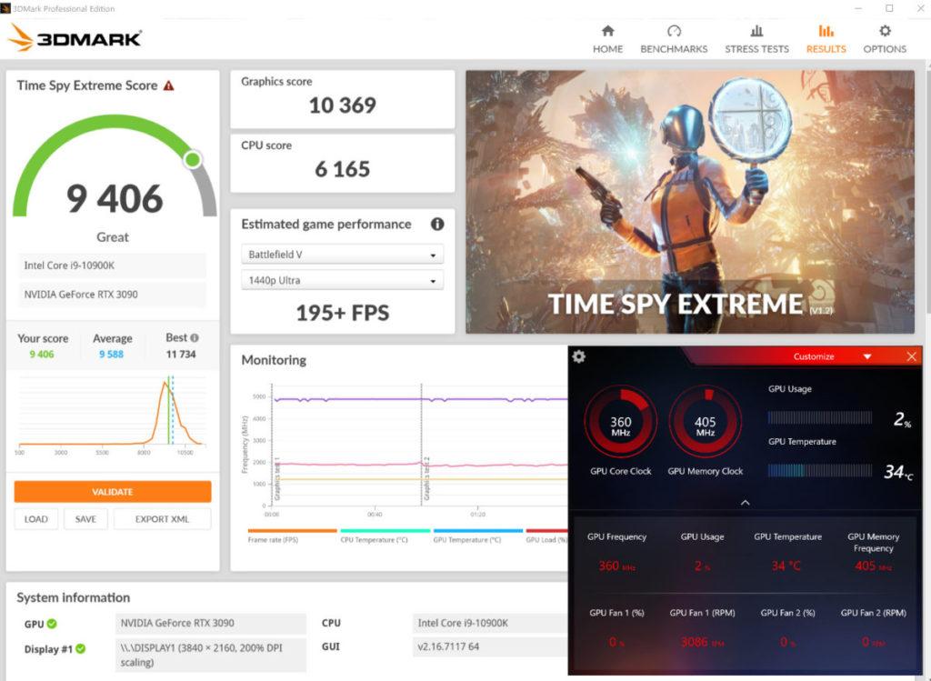 Gaming & Silent Mode 下 3D Mark Time Spy Extreme 性能