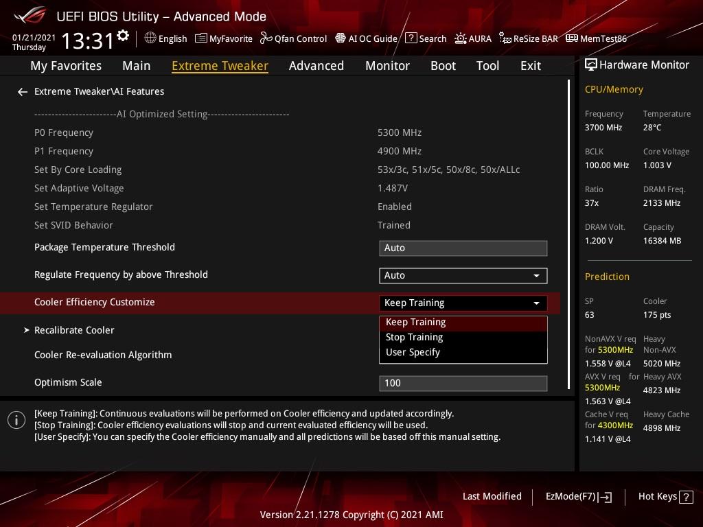 BIOS 有AI 功能可持續針對CPU 散熱器作出最佳配置。