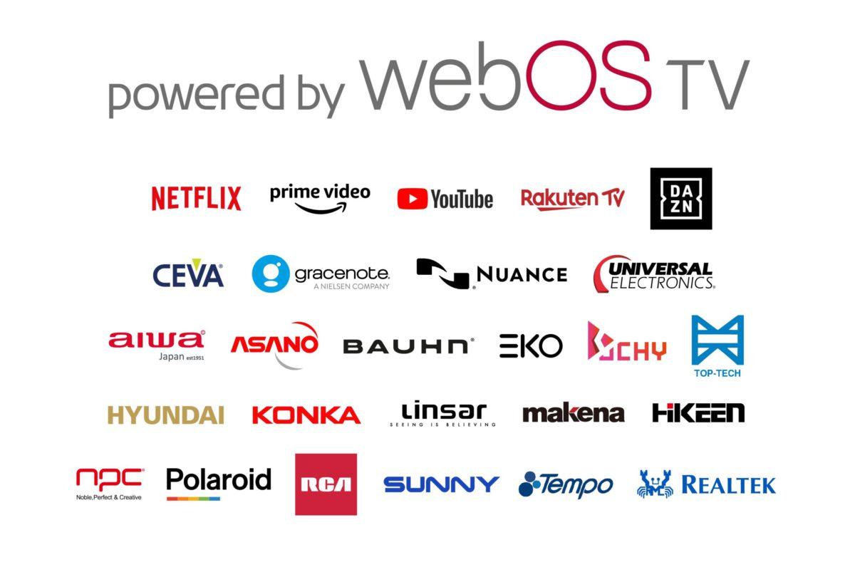 LG 列出支援 webOS TV 平台的電視廠商、串流平台和技術支援伙伴的名單。