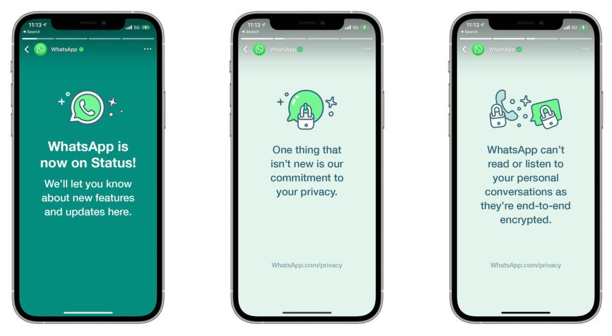 WhatsApp 在用戶紛紛宣稱要轉用其他通信程式後,透過程式內的動態向用戶解釋新條款不會影響個人通信的私隱。