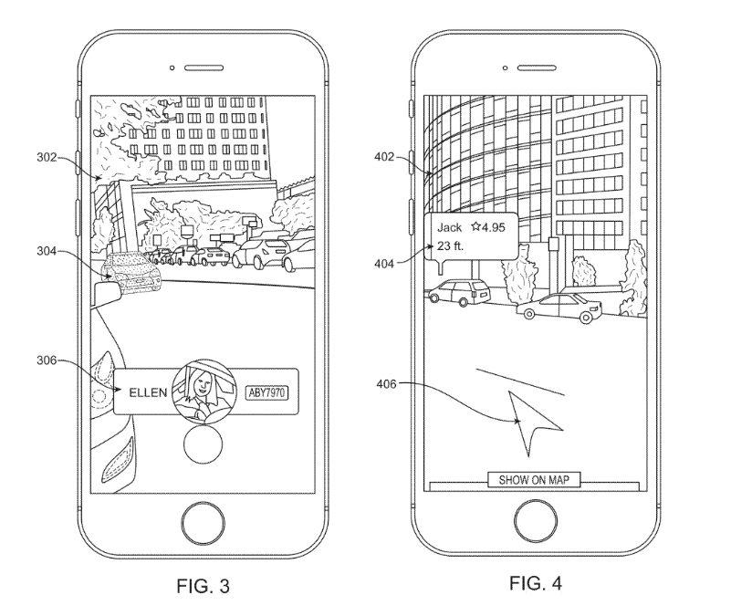 專利文件介紹了 Uber AR Walking 的槪念。
