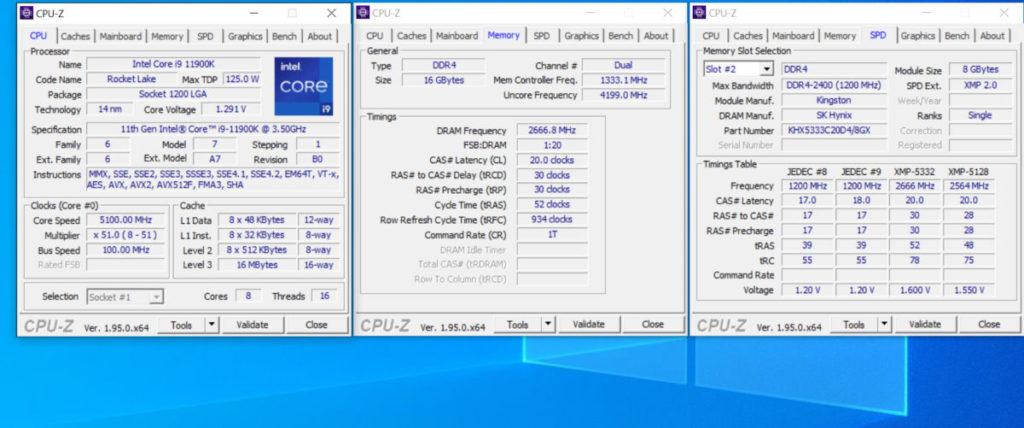 以 Core i9-11900K + Hyper-X PREDATOR DDR4-5333 在使用 XMP 後即可穩定 2666MHz @CL=20 (相當於 DDR4-5333 )下工作。