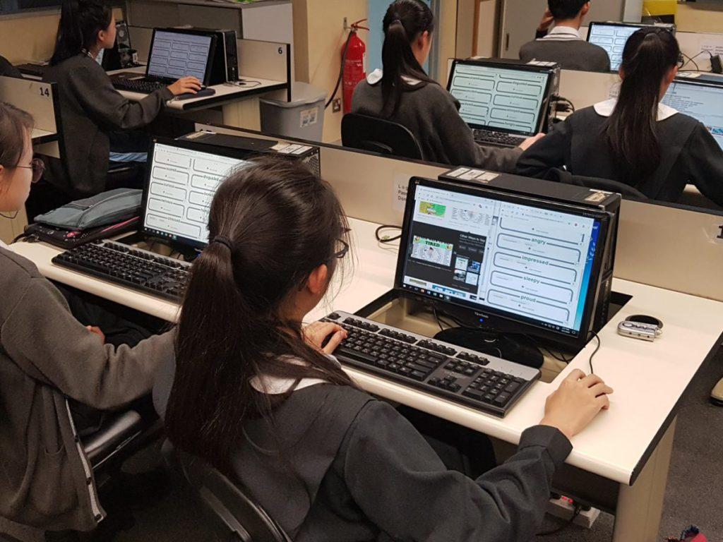 初中學生使用Machine Learning for Kids進行AI學習。