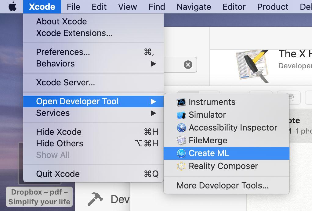 於Mac機裡的系統,可安裝Xcode程式。接著啟動Xcode,於選單上「Xcode」 →「Open Developer Tool」→「Create ML」。