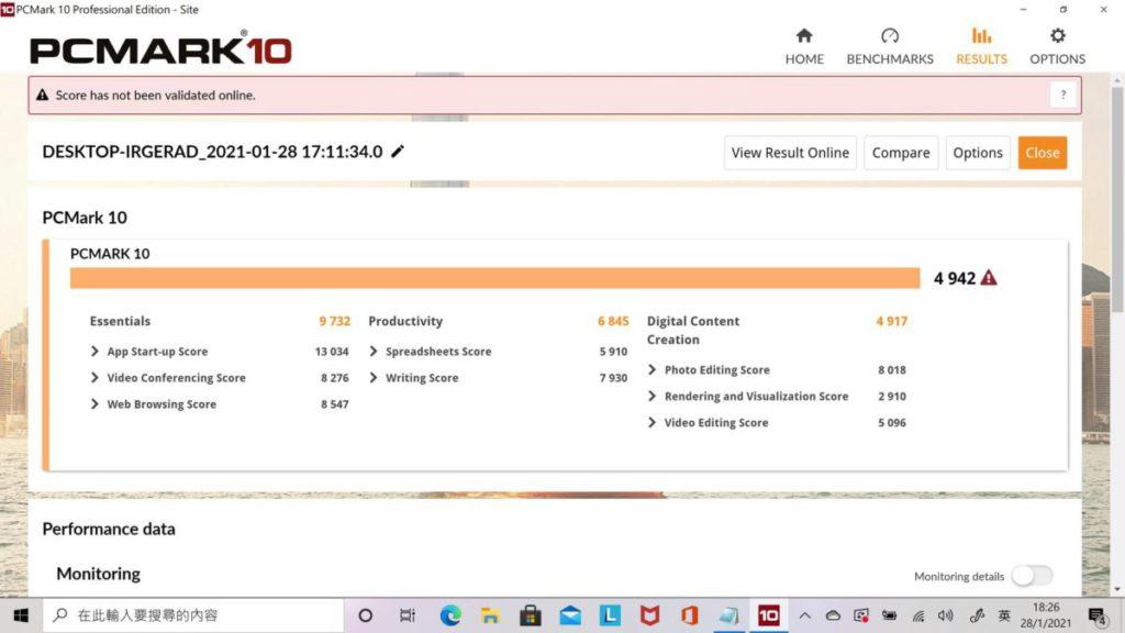 PCMark 10測試有4,942分,效能不俗。