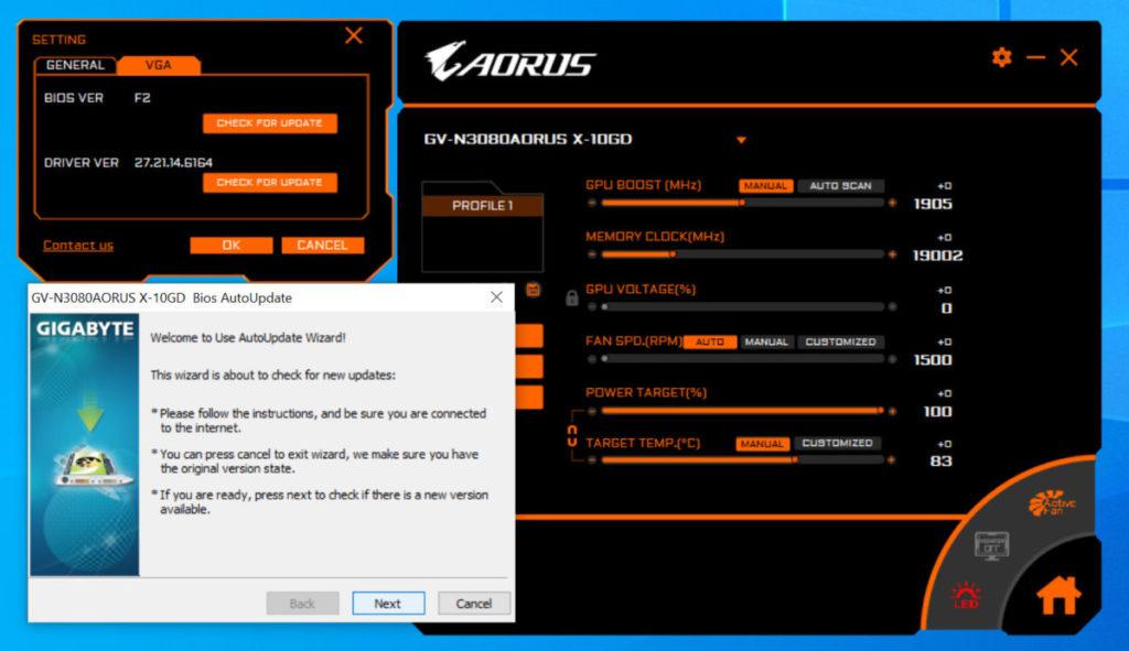 可在 AORUS ENGINE 程式更新 vBIOS