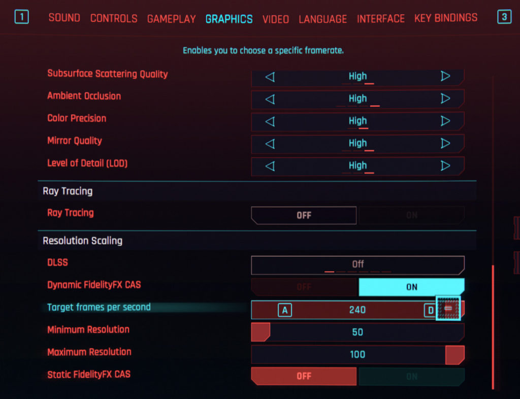 《 Cyberpunk 2077 》的 「 Dynamic FidelityFX CAS 」選項。需設定最低及最高解像度。