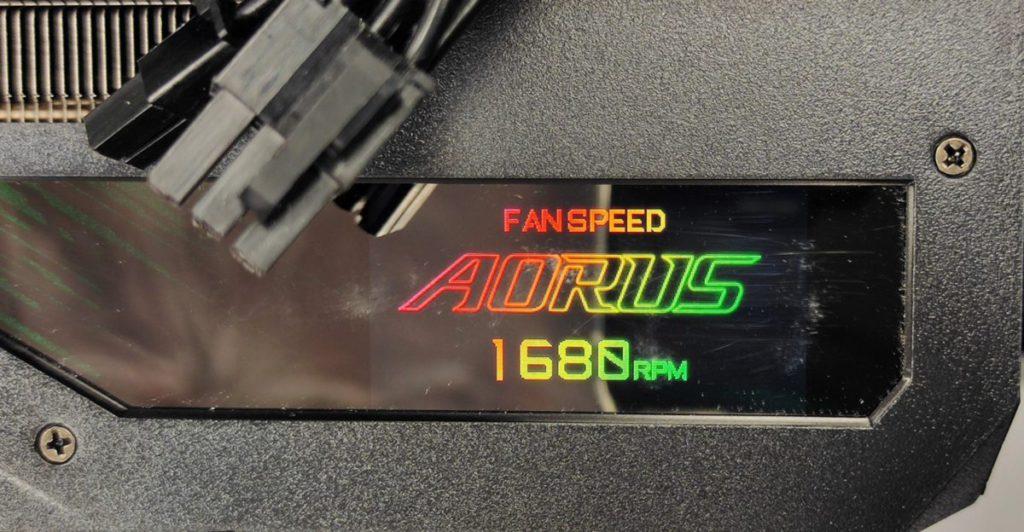 以 LCD 顯示屏顯示 Fan Speed 為 1680RPM