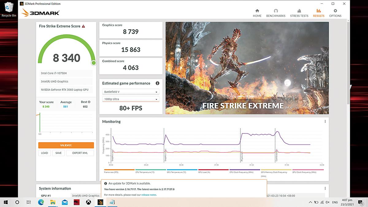 3DMark FireStirke Extreme 中得 8,340 分,比去年 GF65 Thin 9SD 的 6,500 分有約 28% 的性能躍進。