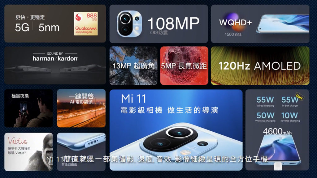 Mi 11 功能特點總覽。