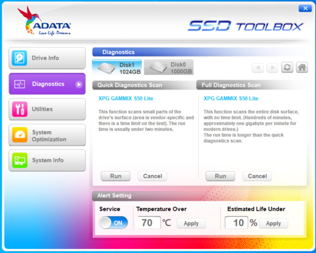 可在《ADATA SSD Toolbox》程式作診斷及升級Firmware等。
