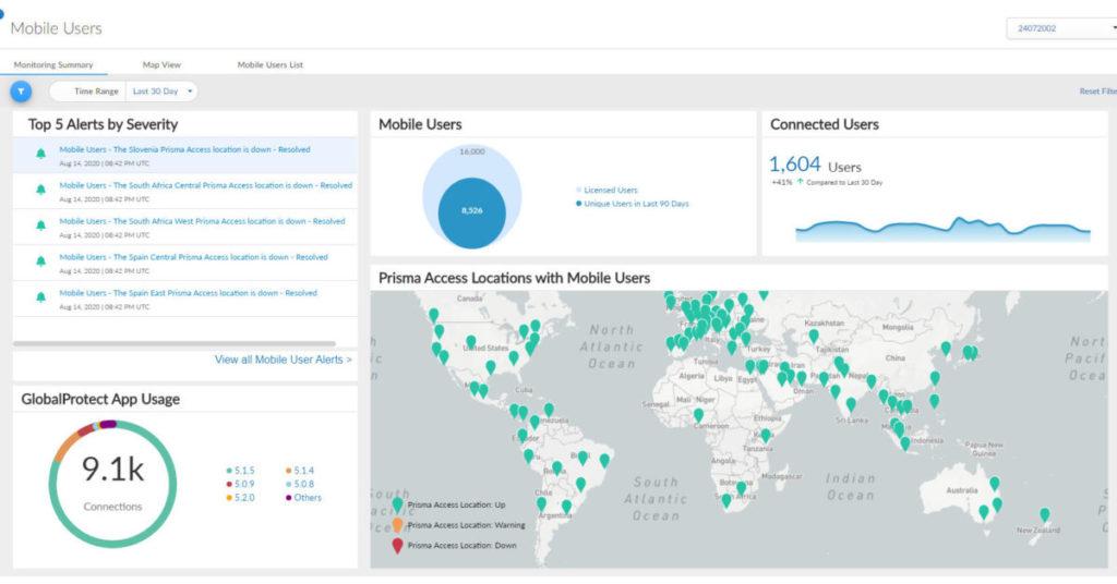 Prisma Access 2.0 的管理介面,展示各設備的登入位置。