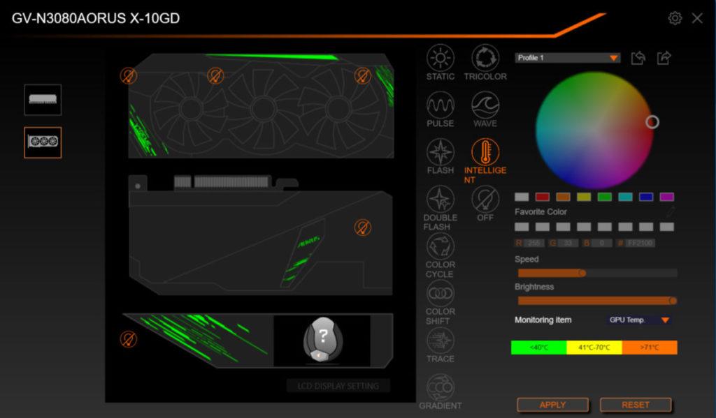 若改為 RGB Intelligent 效果的話,可隨溫度變化改變顏色。