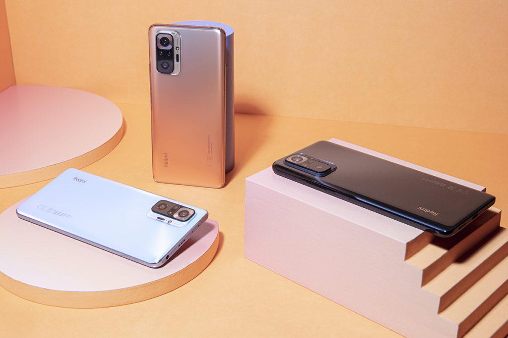 Redmi Note 10 Pro 則有瑪瑙灰、冰川藍及漸變銅三款顏色選擇,搭載 Snapdragon 732G 處理器,香港市場僅提供 6 + 128GB 版本。
