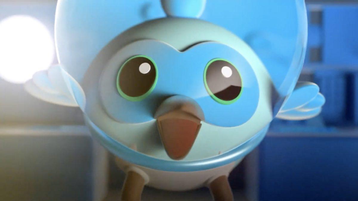 在 Flutter Engage 大會上登場的吉祥角色藍色小鳥。 Flutter 本身有拍動翅膀的意思。