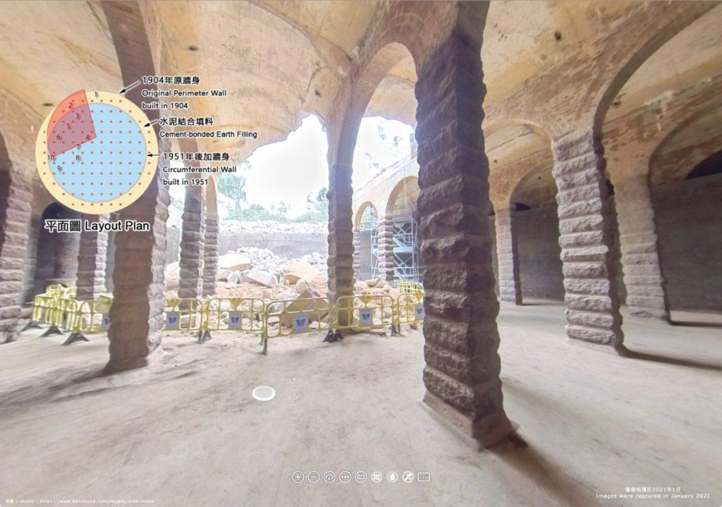 打開平面圖後可以點擊圓點(柱)之間的位置,到那裡作 360 度觀看。點擊地上的圓點就可以移動到那一點的位置。
