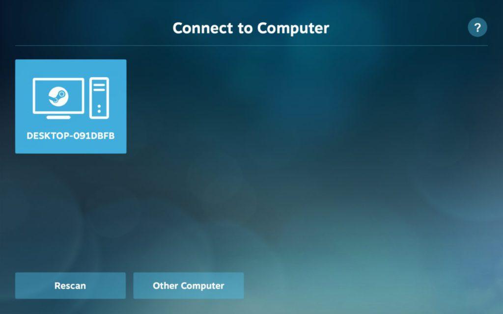 Steam Link 會掃描網絡中裝有 Steam 的電腦,並進行網速測試。