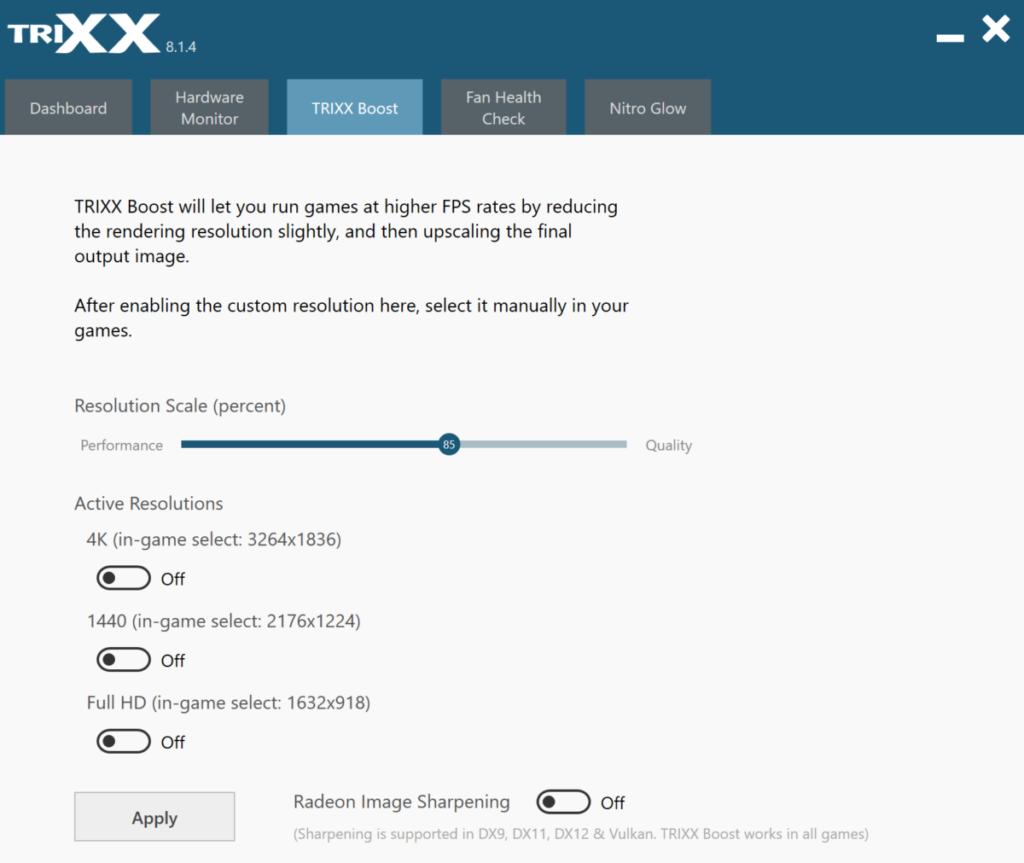 Sapphire 特別提供的 TRIXX Boost 功能