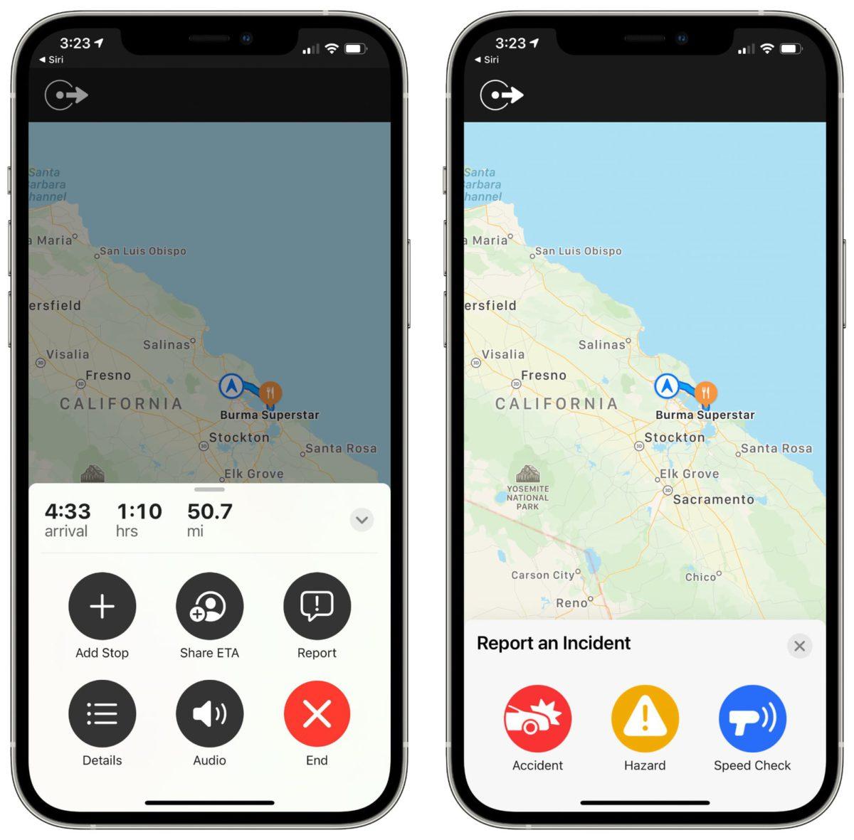 用戶在使用 iOS 14.5 的地圖來導航時如果預上交通意外或災難,可以直接在地圖程式裡向其他用戶發出警告。