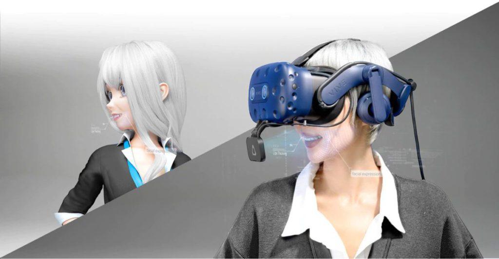 配合 VIVE Pro Eye 的眼球追踪功能,可以追捉完整面部表情。