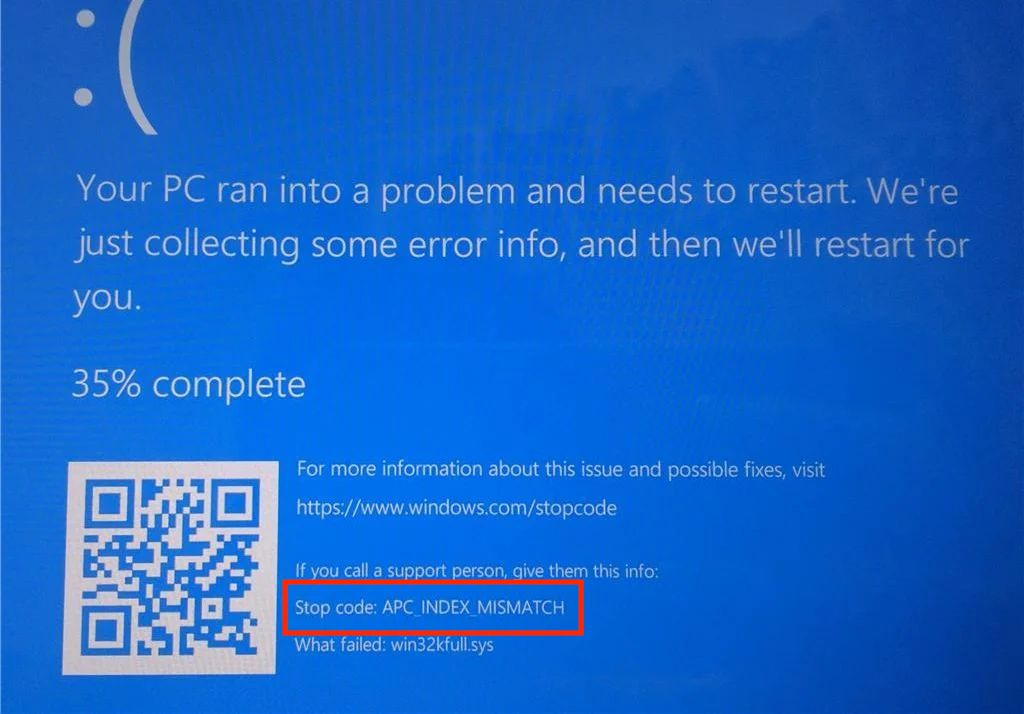 Microsoft 在支援文件中指出安裝這些更新後,使用部分程式嘗試使用某些打印機打印時可能會出藍畫面並標示 APC_INDEX_MISMATCH 藍畫面。