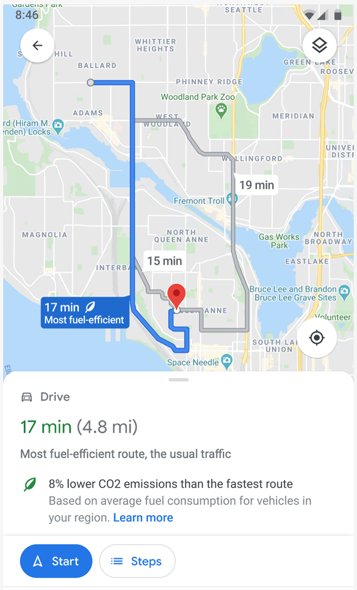 新版 Google Maps 會優先建議碳排放量較低的環保路線。