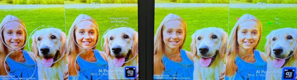 現場測試畫面,左邊是新的G1 右邊是上年的GX,可以見到G1 的人 面膚色質感比較實淨,但不算太過明顯,真正表現需要用測試影片再試過才可下結論。