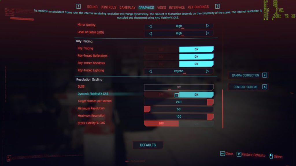 在《 Cyberpunk 2077 》Patch 1.2 的支援下,可使用 Ray-Tracing 功能。