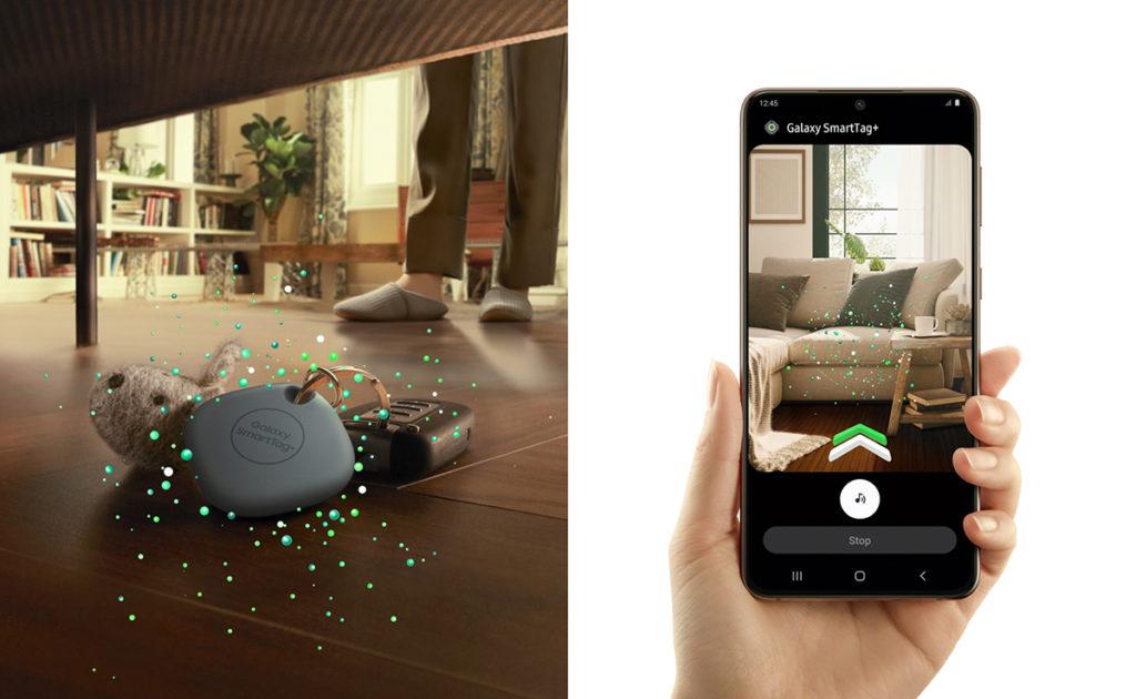 可利用AR Finder 在SmartThings Find 的畫面中顯示與Galaxy SmartTag+ 的距離,以及提供方向指示。