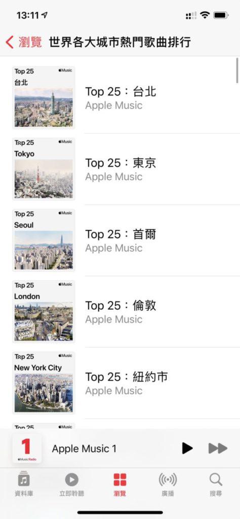 Apple Music 排行榜未有香港。