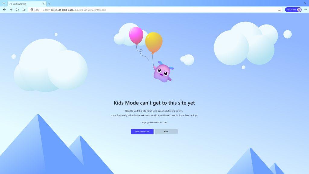 兒童打算瀏覽未經許可網頁的話會彈出提示,要求他們取得家長同意。